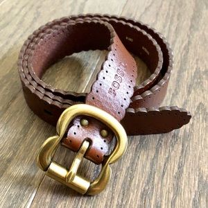 Fossil Scalloped Brown Leather Belt